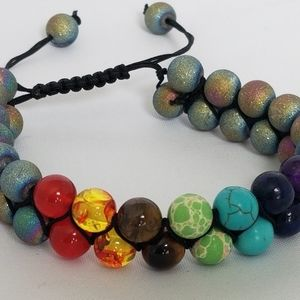 7 Chakra Double Layer Natural Lava Stone Bracelet